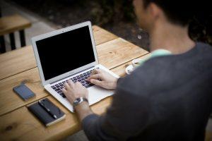 Guy blogging