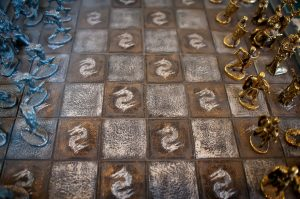 Chess board with soldiers